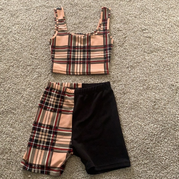 Two-Piece Tartan Plaid Outfit